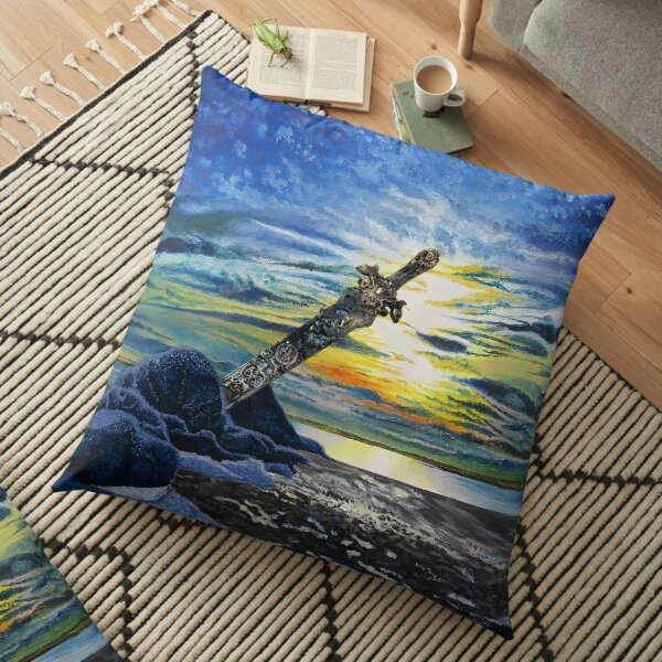 Gold Amazon Sword in the Stone Beach Sunset Floor Pillow