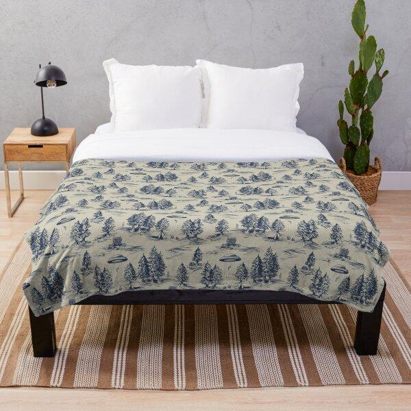 Alien Abduction Toile De Jouy Pattern in Blue Throw Blanket