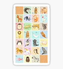 English Animal Alphabet Sticker