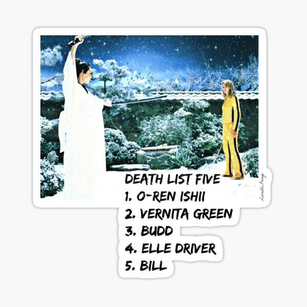 Kill Bill Death List 5 Sticker
