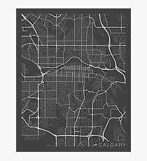 Calgary Map, Canada - Gray Photographic Print