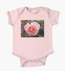 Pink Rose with Raindrops One Piece - Short Sleeve