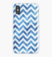 Chevron Pattern, Chevron Print, in blue and white iPhone Case/Skin