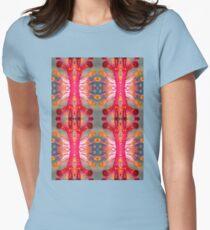 Hibiscus Stamen Macro Pattern Womens Fitted T-Shirt