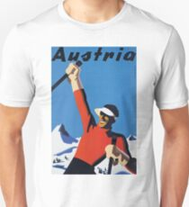 Vintage Austria Winter Sport Skiing Travel Poster T-Shirt