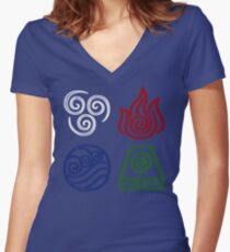 Four Elements Minimalist Women's Fitted V-Neck T-Shirt
