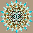beige and brown  and aqua mandala by resonanteye