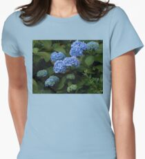Beautiful Blue Hydrangeas - Preston Temple Grounds Womens Fitted T-Shirt