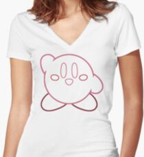 Minimalist Kirby With Face Women's Fitted V-Neck T-Shirt