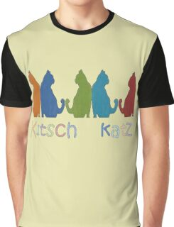 Kitsch Cats Silhouette Cat Collage Pattern Isolated Graphic T-Shirt