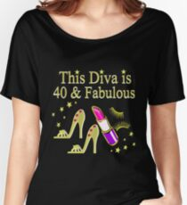 GOLD SPARKLING FABULOUS 40TH DESIGN Women's Relaxed Fit T-Shirt
