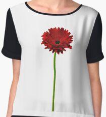 Long stem single red Gerbera daisy Women's Chiffon Top