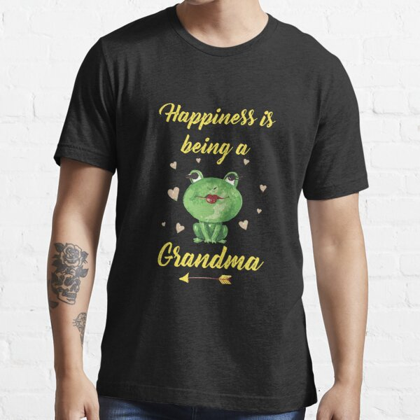 Funny Grandma Frog Lover Gift Happiness Is Being A Grandma Essential T-Shirt