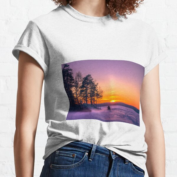 The snow mobile race toward the Sun pillar Classic T-Shirt