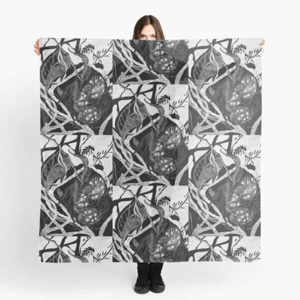 Birds' Nest Drawing Black and White Scarf