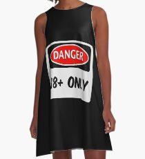 DANGER 18+ / 18 PLUS FUNNY FAKE SAFETY DANGER SIGN A-Line Dress