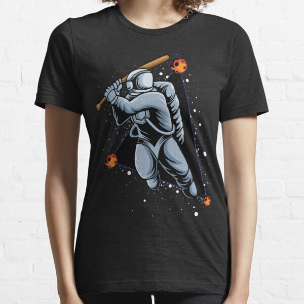 Playing Space Baseball, funny astronaut t-shirt, space science lover, outside space, funny Astronomy gift idea Essential T-Shirt