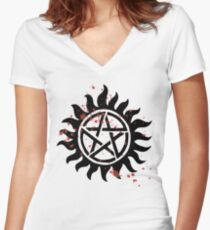 Demon Protection Tattoo Women's Fitted V-Neck T-Shirt