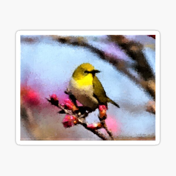 Yellow Breasted Bird on a Branch Sticker