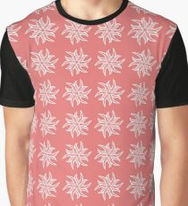 Mandala Flowers in white on coral Graphic T-Shirt