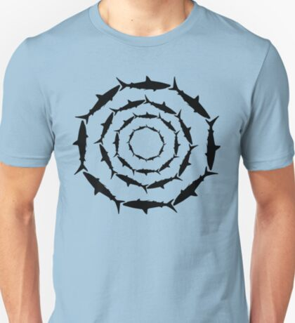Spiralling Sharks (Black) T-Shirt