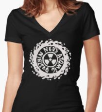 neds atomic dustbin t shirt Women's Fitted V-Neck T-Shirt