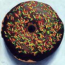 """Circle of Love"" - Realistic Donut food painting by LindaAppleArt"