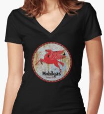 Vintage Mobil Gas and Oil sign rusty as heck. Women's Fitted V-Neck T-Shirt