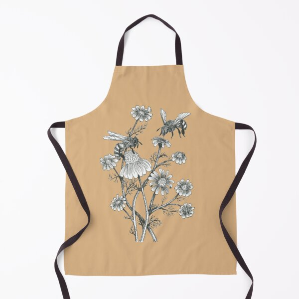 bees and chamomile on caramel background Apron