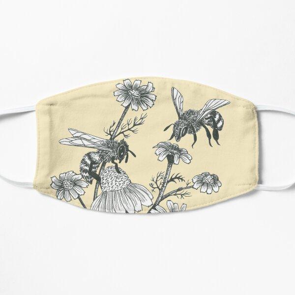 bees and chamomile on honey background  Flat Mask