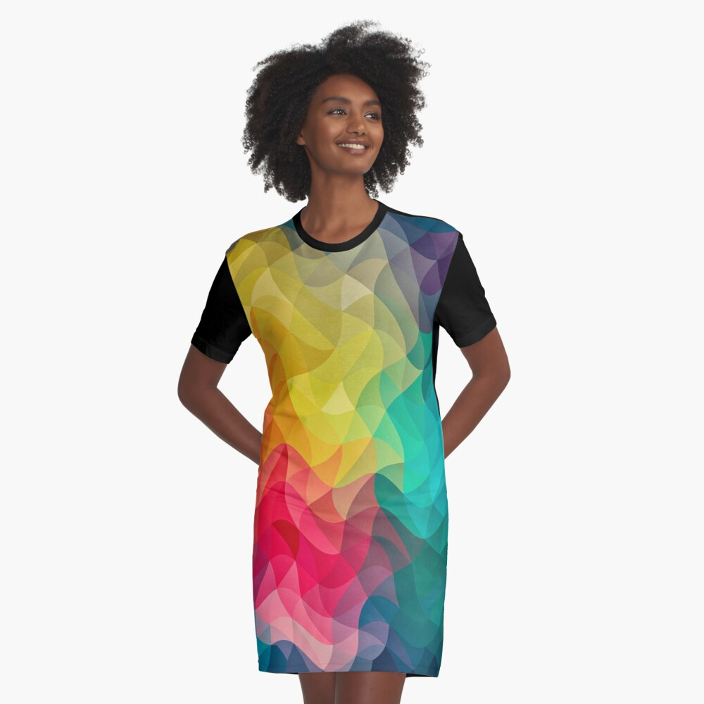 Abstract Color Wave Flash T-Shirt Kleid