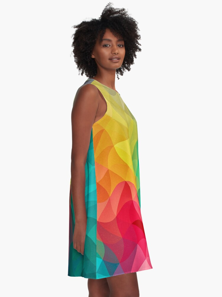 Alternative Ansicht von Abstract Color Wave Flash A-Linien Kleid