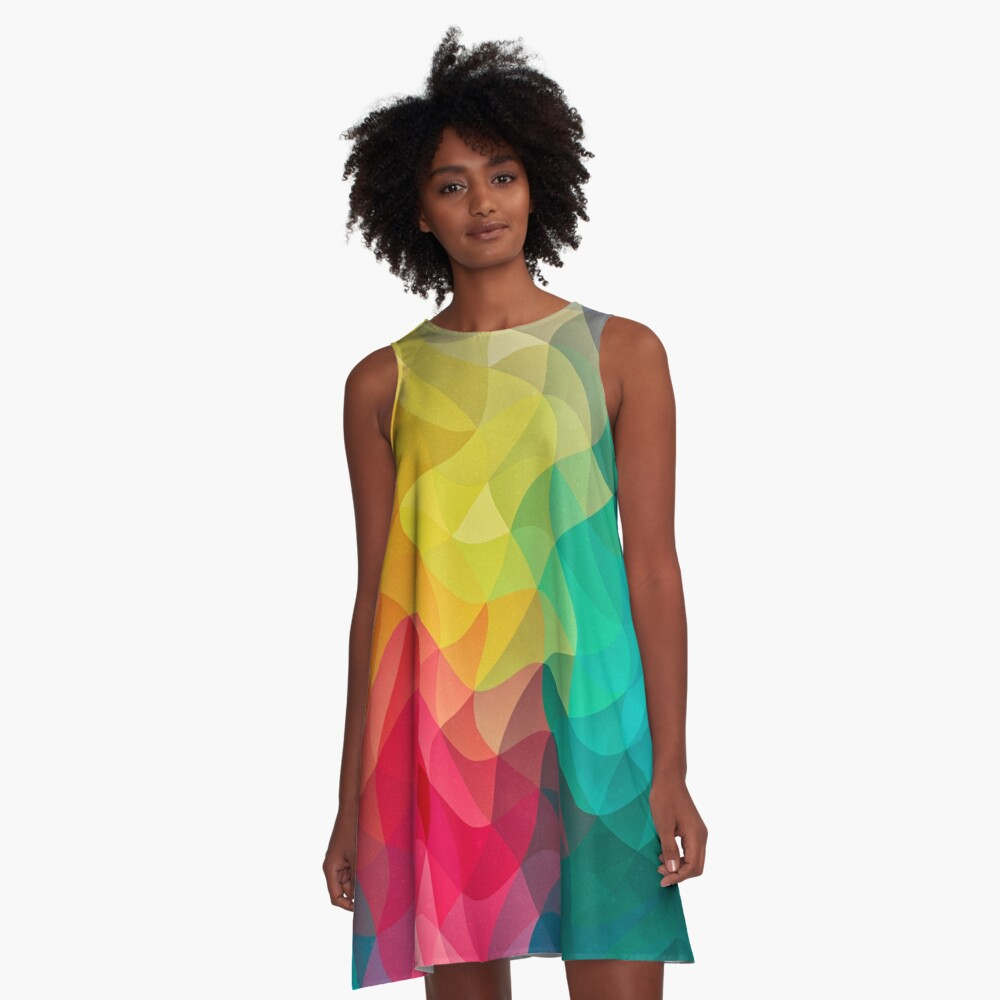 Abstract Color Wave Flash A-Linien Kleid
