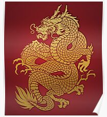 Chinese Golden Dragon Poster