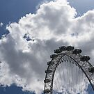 Silver, Blue and White - the London Eye Against Dramatic Sky by Georgia Mizuleva