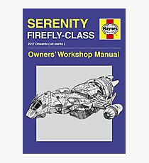 Serenity - Owners' Manual Photographic Print