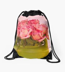Pink Roses In Green Watering Can Drawstring Bag