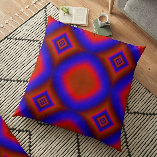 Red and Blue Glowing Colors Floor Pillow