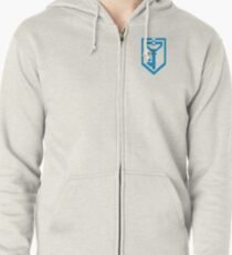 Ingress Resistance Logo over left Breast - Blue Zipped Hoodie