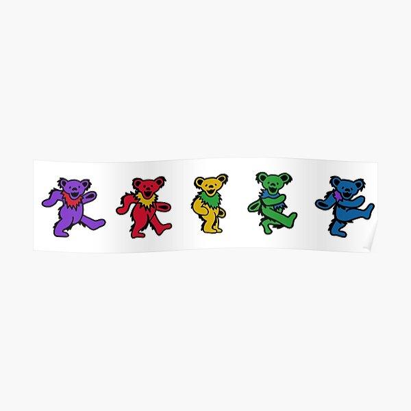 Dancing Bears Rainbow Poster