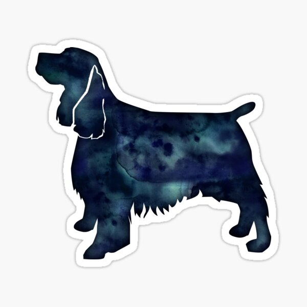 Springer Spaniel Dog Black Watercolor Silhouette Sticker