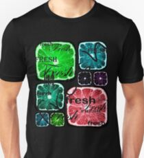 Fresh Square Citruses on Black Unisex T-Shirt