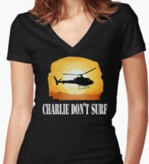 Apocalypse Now Quote - Charlie Don't Surf Women's Fitted V-Neck T-Shirt