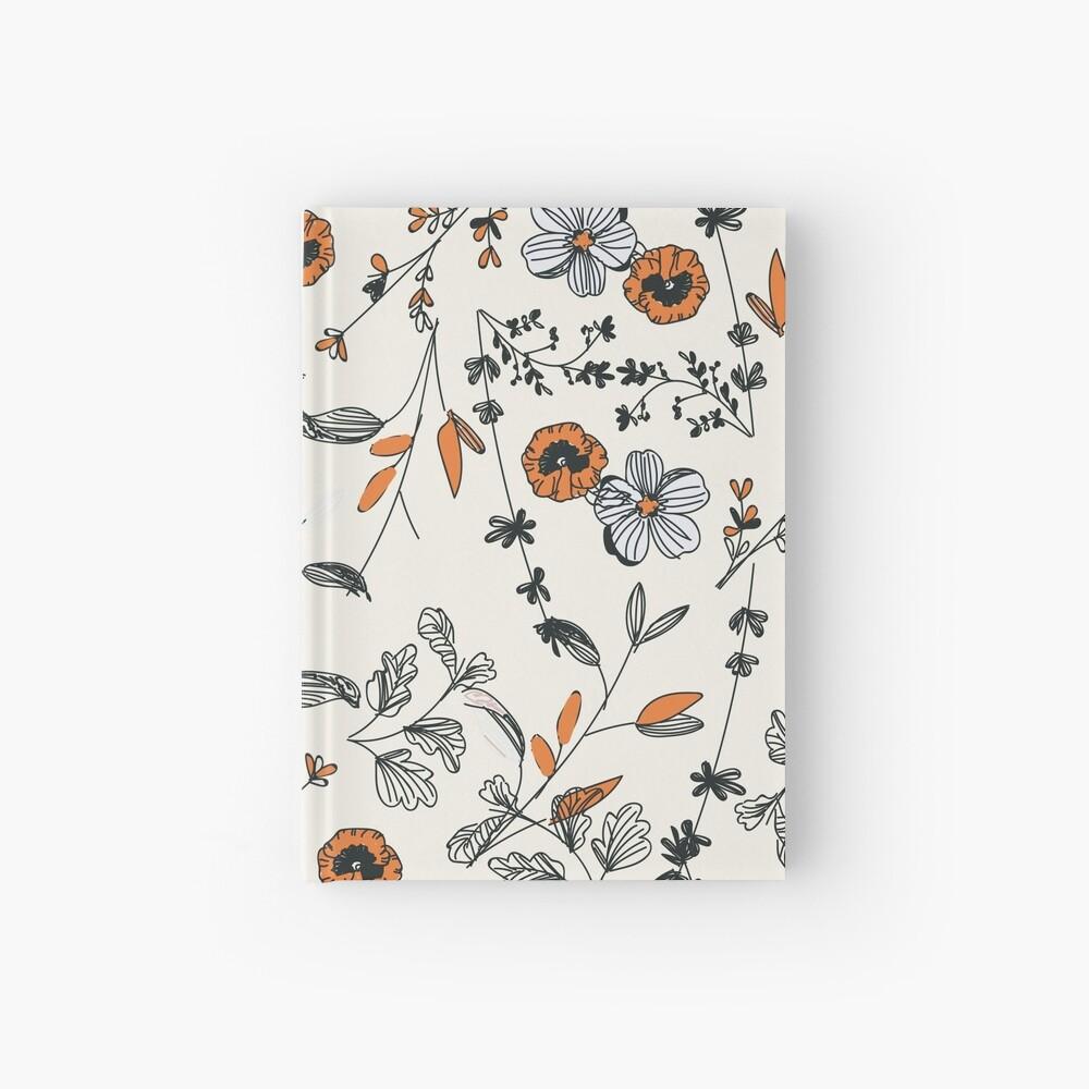 Orange Flower Pattern Hardcover Journal
