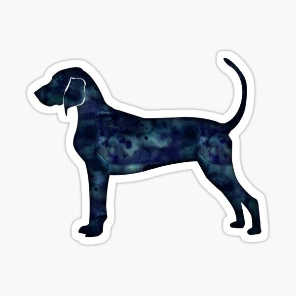 Bluetick Coonhound Black Watercolor Silhouette Sticker