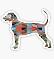 Bluetick Coonhound Colorful Geometric Pattern Silhouette - Plaid Sticker
