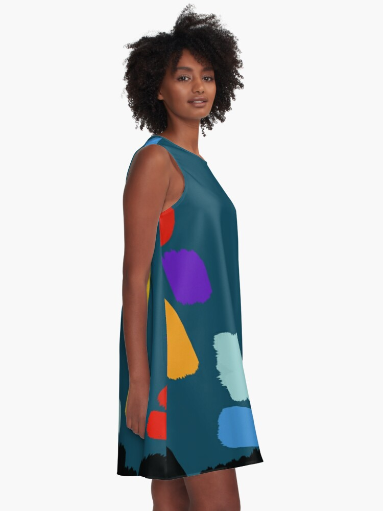 Alternate view of Painting Sea Blue A-Line Dress