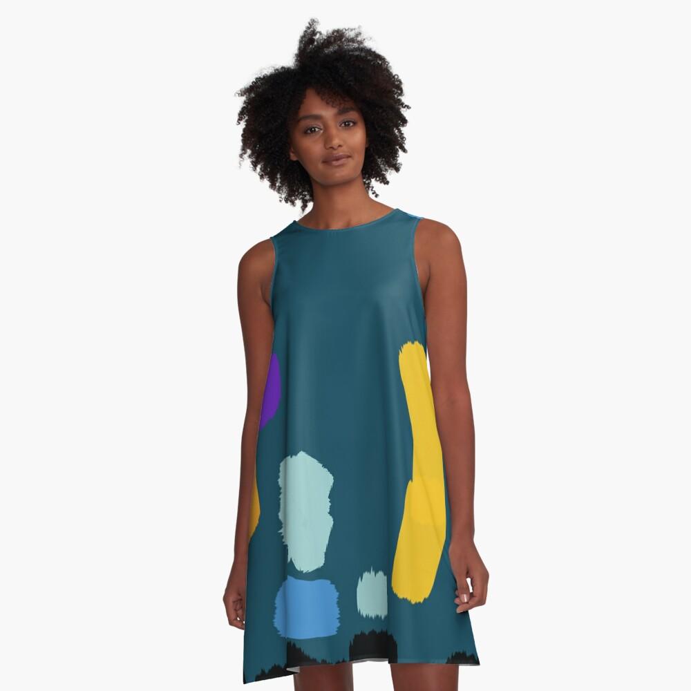 Painting Sea Blue A-Line Dress