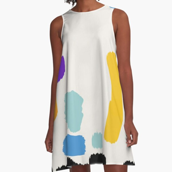 Painting Creamy Cream A-Line Dress