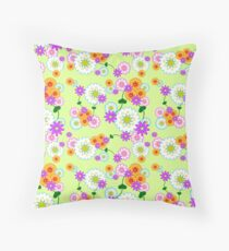 Full Floral Green Throw Pillow